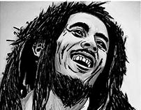 Bob Marley scribble brush painting