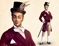 Character concept art of french man