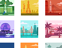 Famous cities skyline icon set