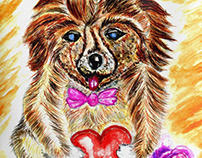 Cute Dog with heart and rose