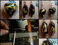 Cristal de Murano negro con hoja de oro incluída