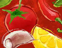 Antipasti Ingredients water colour & ink