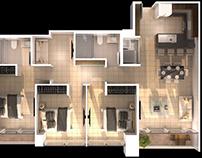 3d Floorplan plain to detailing One