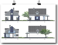 Exterior decoration of individual houses facade