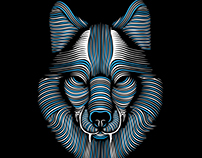 WhiteBlue Wolf Vector