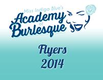 Miss Indigo Blue's Academy of Burlesque - Flyers 2014