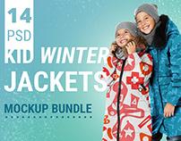 Kid winter jackets mockup bundle