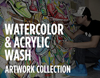 WATERCOLOR & ACRYLIC WASH ARTWORK COLLECTION