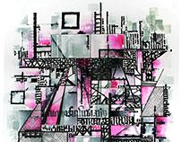 2019 02 13 Urbano en magenta 46 x 67 tinta en papel alg