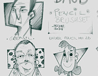 DAUB Pencil brushset, reference face sketches