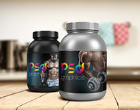 Freebie: Protein Jar Packaging Mockup Free PSD Graphics