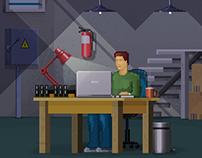 """Illustration """"Bitcoin miner"""""""