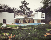 Modern hous in forest vray render