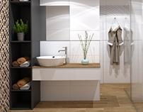 Small bathroom #grey #white #wood #mosaic