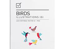 Birds illustration set $11.00