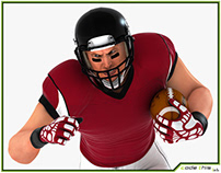 3D Model: American Football Player HQ 007