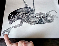 ALien. Tattoo design.