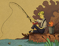 Fishing and reading