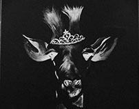Black and White Giraffe in Acrylic