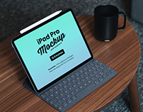 Free iPad Pro Mockup PSD with Keyboard
