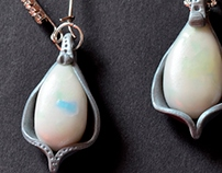 Pearl and silver polymer clay