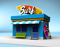 Surf Hut - 3D Render