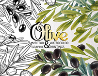 Watercolor and graphic olive plants