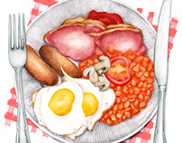 Food Illustration - The Full English Fry-up.