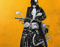 """""""Yellow Biker""""Acrylic on Canvas, 14x18"""""""