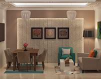 Modern hotel room living room design