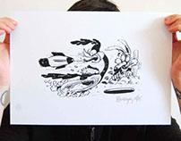 serigraphie affiche bip bip et coyote