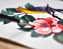 Botanical Illustration | Flowers and Bird