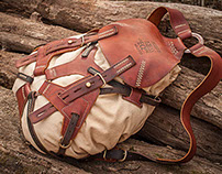 #062 leather and canvas rucksack