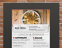Menu Design for Bar Siena