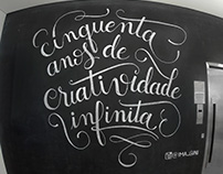 IED's 50th anniversary chalk lettering