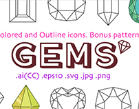 Colored and outline icons gems + pattern