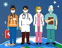 'Thanks, Health Heroes' / Pixel Art