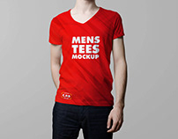 V-Neck Male T-Shirt Mockup Free Psd