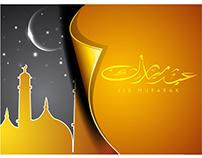 Eid mubarak Typography template Vector