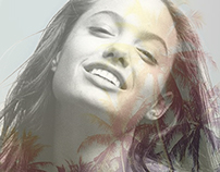 Angelina Jolie double exposure