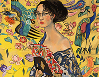 Self portrait as Lady with a Fan by Klimt