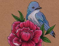 Blue Bird on a Peony