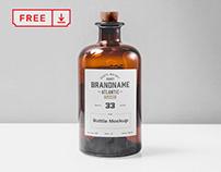 Free Transparent Glass Bottle Mockup