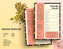 Gold heart Resume Template / CV Template