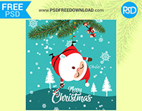 Merry Christmas Greeting Card Psd