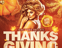 Thanksgiving Party Flyer Template .PSD