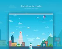Rocket - flat onepage social media