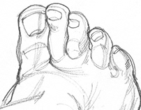 Old student drawings of my feet using a mirror