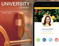 Profile Card - University Professor, mobile app design