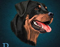 Digitally painted Rottweiler dog